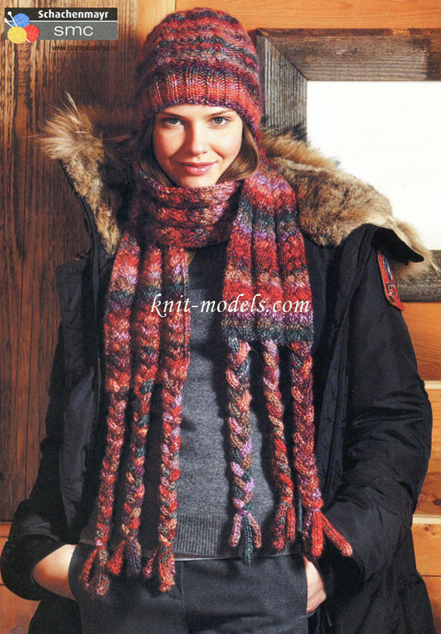 Шапочка и шарф с косами