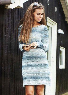 Платье из пряжи секционного <em>окат рукава крючком</em> крашения