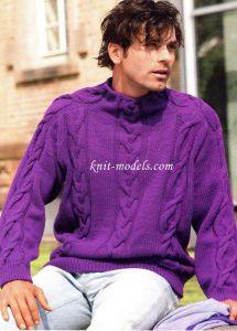 Фиолетовый свитер с <u>вязать тапочки крючком мотивами</u> косами