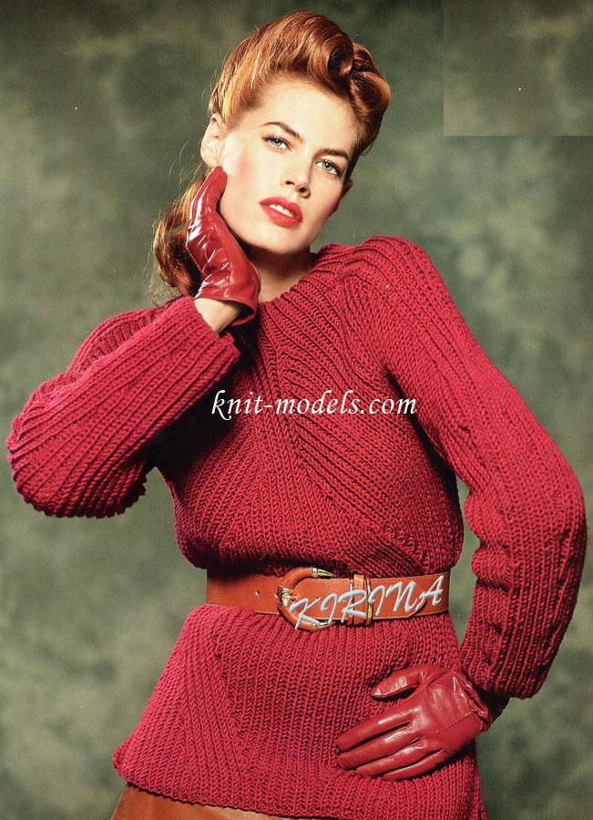 Пуловер с рукавами реглан спицами (английская резинка) 90