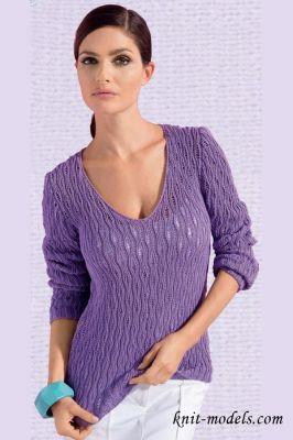 Пуловер спицами с v образным вырезом